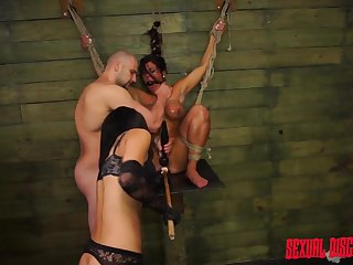 Rope bound duteous sucks big flannel and gets fucked