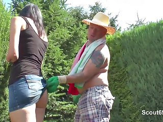 German Step-Dad Fucks Spoiled Teen Girl in Garden