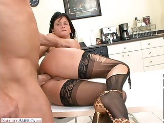 Office slut in frayed stockings Tory Lane hooks up with one of co-workers
