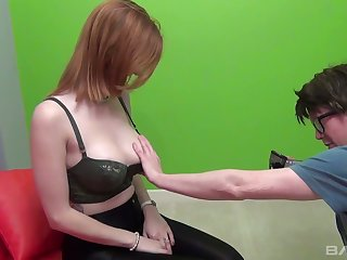 Red haired big tittied bitch Zara Du Rose fucks one kinky nerd in glasses