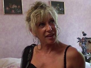 Frigid Cochonne - Mature blonde French newbie gets cum masked