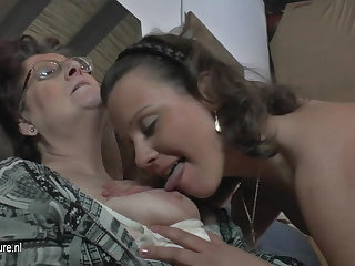 Natural crude 3 elderly and young lesbians fuck each other