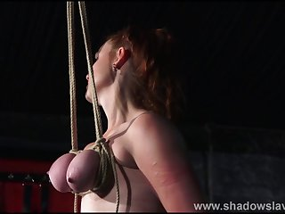 Breast bondage and tit torture be beneficial to redhead amateur slave Fion