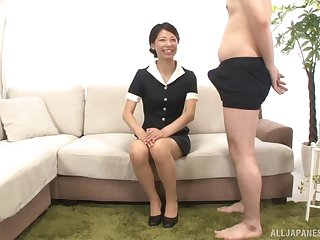 Cheerfil lady Sakurai Mika begrimed a fat added to hard stranger's penis
