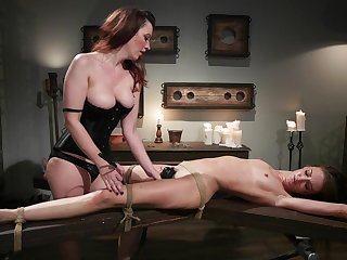 Cherry Torn and Zoe Sparx use a strapon and a dildo be proper of a lesbian fuck