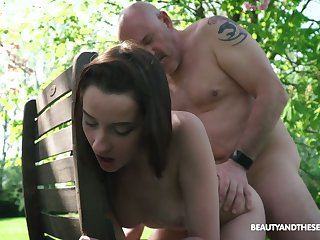 Young nympho Charlotte Johnson seduces age-old naked ladies' in the garden