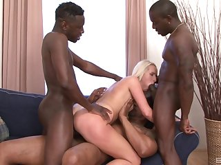 Horny blonde wife takes black cocks in both her ass and pussy