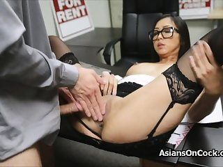 Asian cutie does a lot of extra overhead job interview