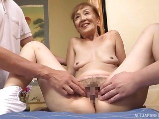 A remarkable threesome Japanese play on touching a sexy granny