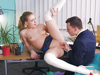 Office intercourse on the table with ball licking and creampie ending for Lucy