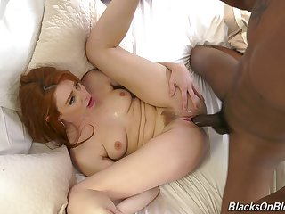 The big clouded dick suits this ginger's pussy just fine