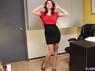 Office handjob with redhead pornstar Sarah Blake on her knees