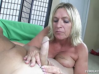 Mature mommy takes a big dick in the brush hands and mouth - Brandi James