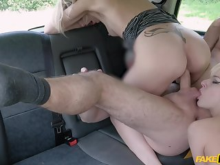 Amazing women allotment dramatize expunge taxi driver's cock in serious XXX threesome