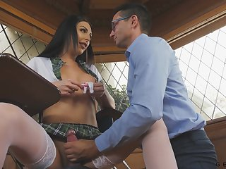 Teacher gives a blowjob to be in charge sexy transsexual student Chanel Santini