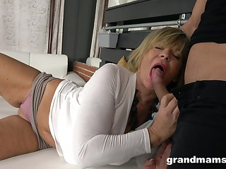 Hot guy enjoys fucking sexy granny with monumental boobs and plump ass