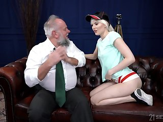 Perverted pensioner enjoys fucking young blond prostitute Be deficient Melissa