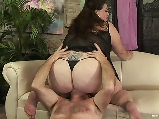 Chubby full-grown grabs the man's cock and plant splendid wide euphoria