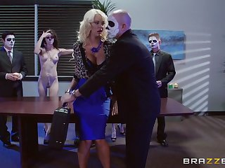 Blonde darling Courtney Taylor fucked in someone's skin office hard by two guys