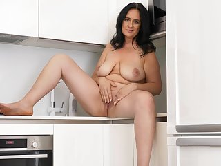 Solo grown up ill-lighted Ria Black drops her dress in the kitchen