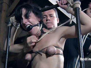 Small boobs Elise Graves enjoys getting rough tortured by a dude