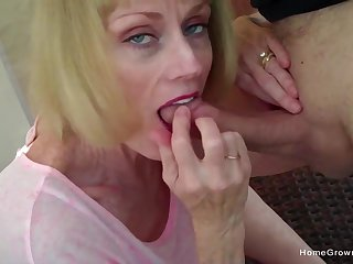 Cock hungry lady blows her man and eats ever drop of his jizz