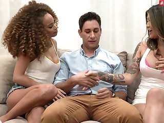 Cecilia Lion and Brenna Sparks orchestrate to make homemade FFM porn video