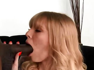 Chubby black cock for white womans mouth