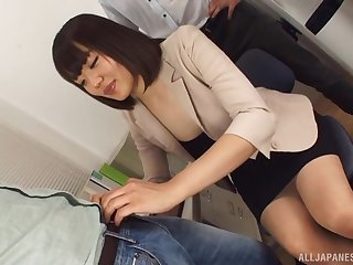 Japanese office MILF is ready for her dose be advantageous to merciless cock