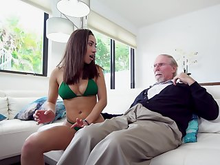 Sex kitten Kira Perez gets busy with her step grandfather
