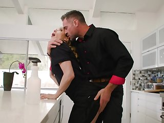 Aiden Ashley with small tits gets fucked at hand the kitchen overwrought a hot dude