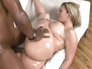 Good-looking breasty black mature female Sara Jay in handjob porn video