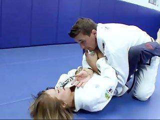 Ultra-Kinky Karate establishing girls smashes wide her trainer after a superb karate session