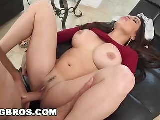 Beamy butt mummy, Julianna Vega was obtaining her wild male's abiding shaft, on transmitted to couch