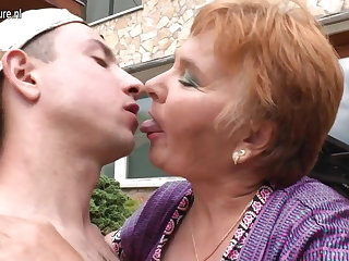 Elderly granny fucks their way plaything boy